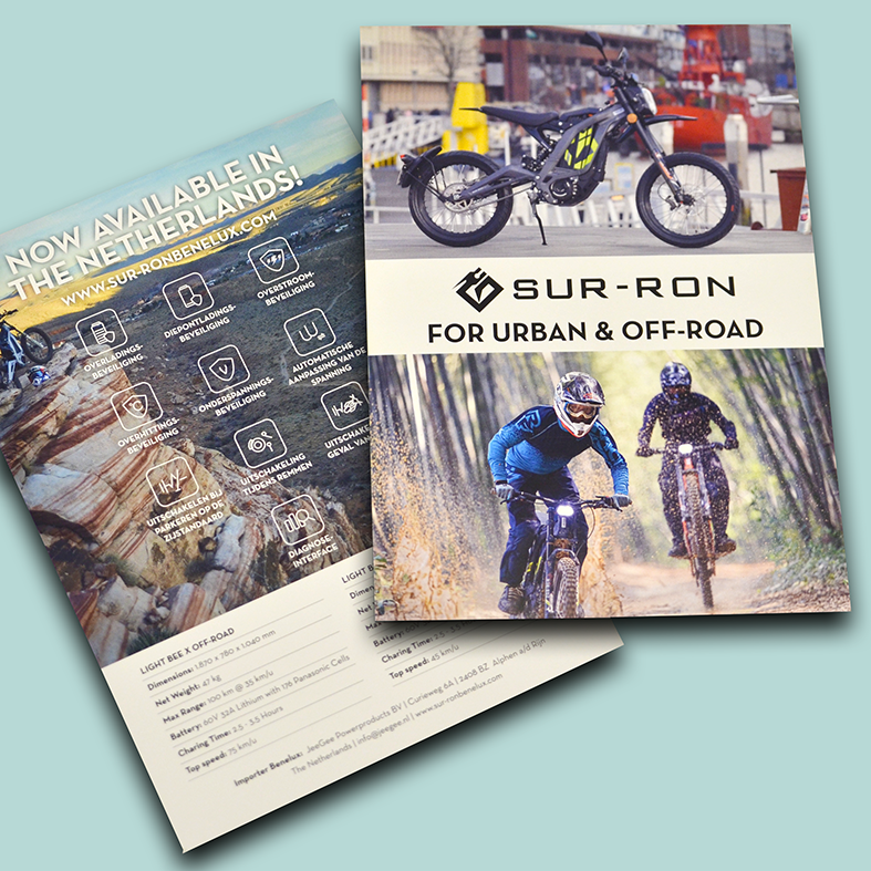 Flyer voor-en achterkant Sur-Ron