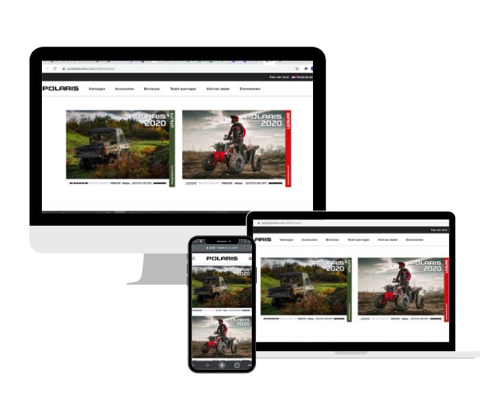 Polaris brochures op website in groot scherm, op laptop en op mobiel