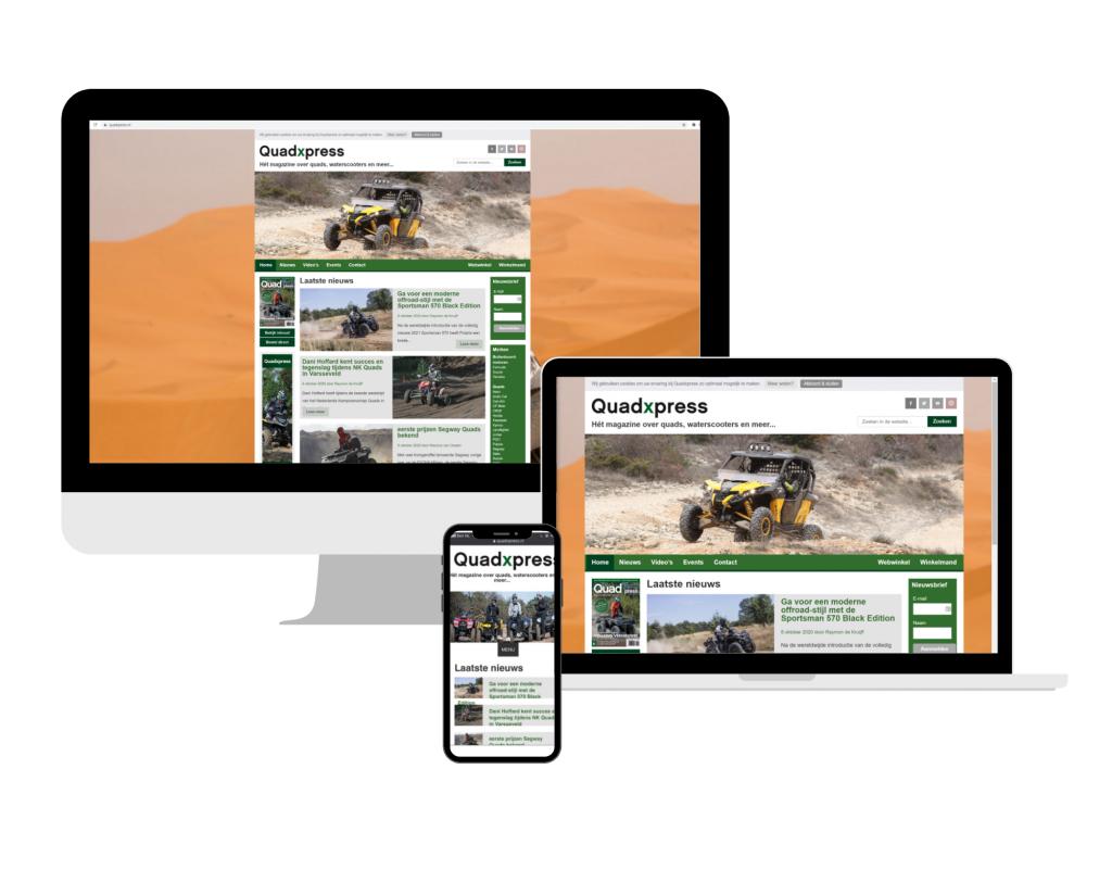QuadXpress website op groot scherm, laptop en mobiele telefoon