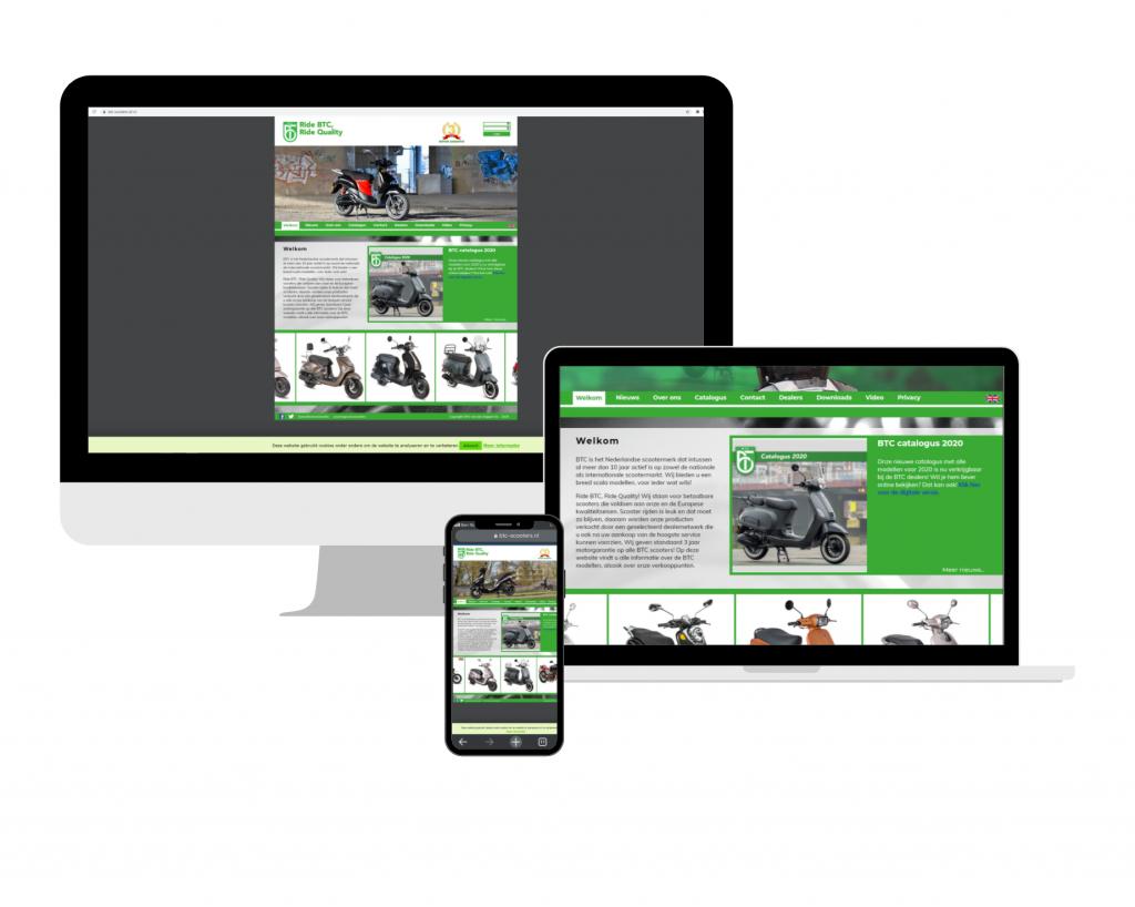 BTC scooters website op groot scherm, laptop en mobiel
